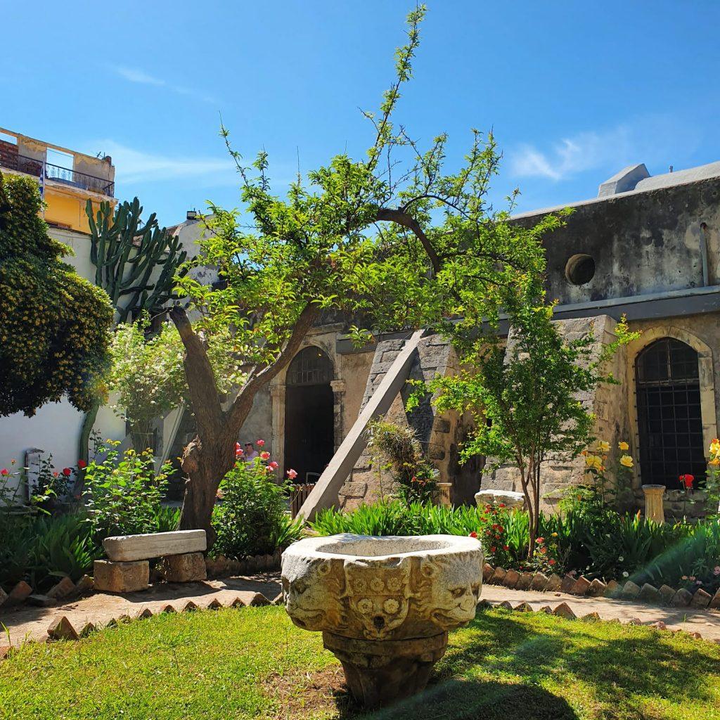 Vegetație din grădina muzeului de arheologie din orașul Chania, Creta.