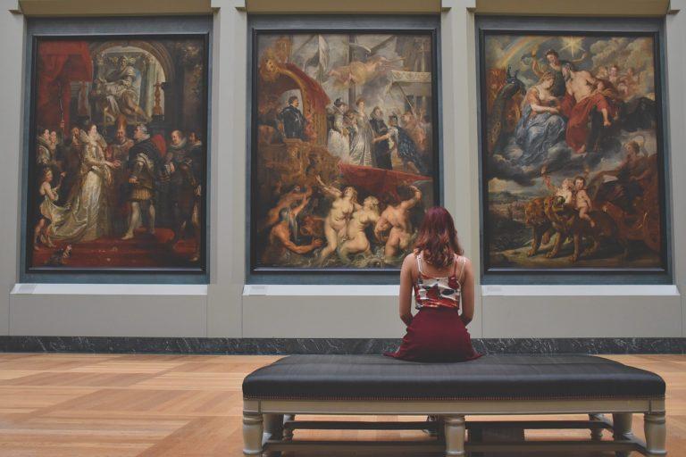 Noaptea Muzeelor 2019. O femeie priveste un tablou dintr-un muzeu.
